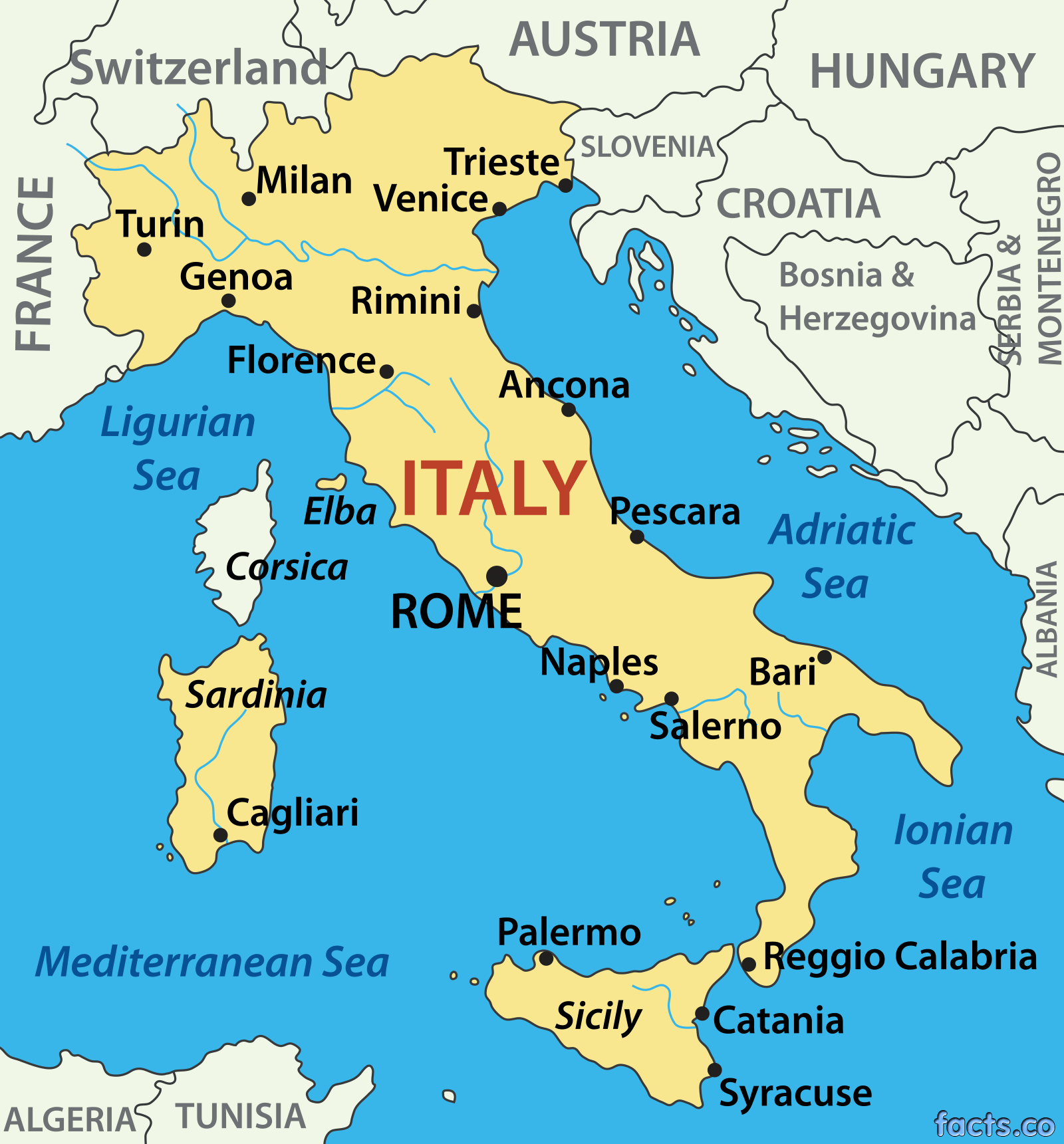 Italy Map Blank Political Italy Map With Cities Cleaning - Italian map