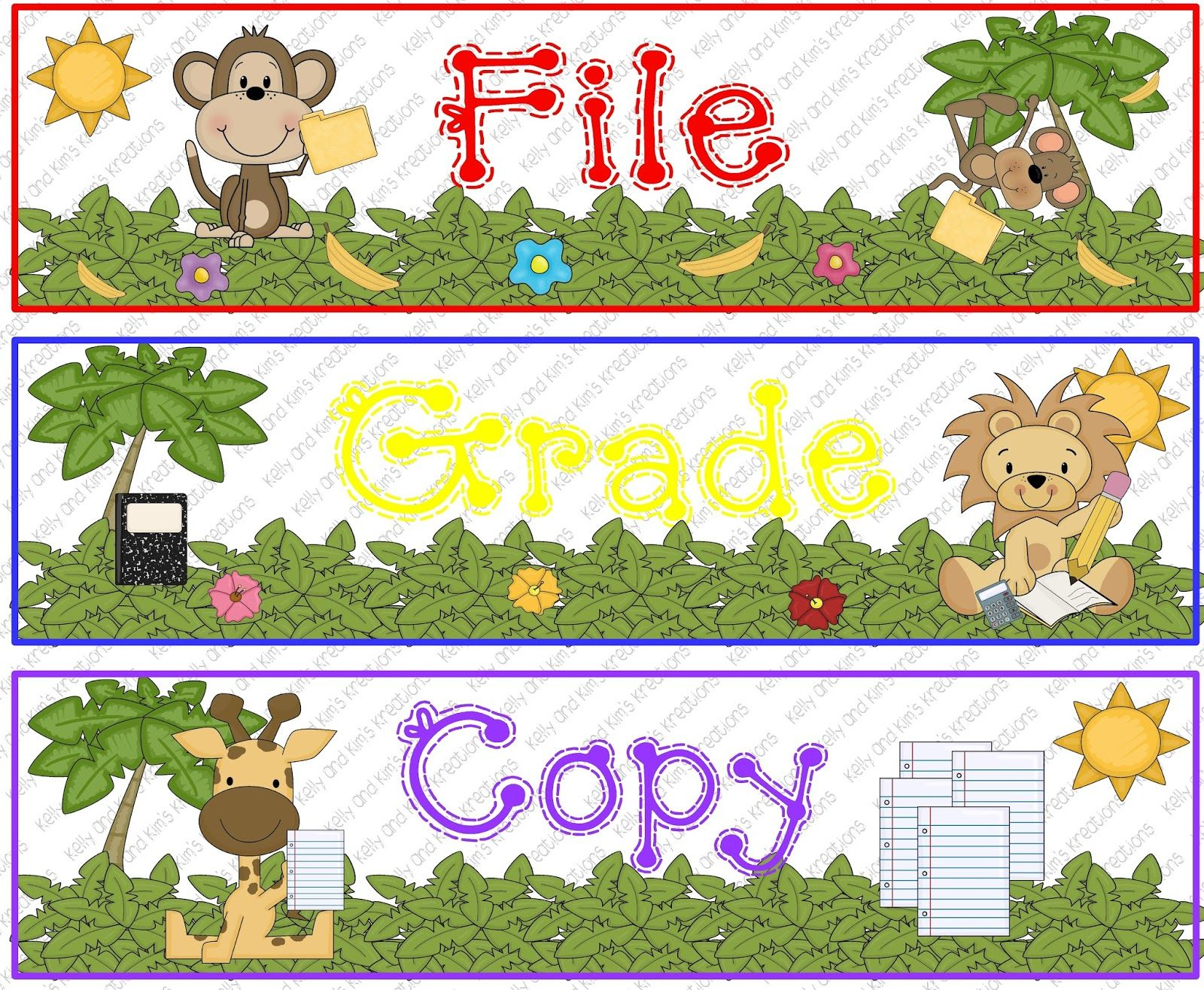 Jungle Themed Teacher Organization Freebie For File Grade And Copy Drawers