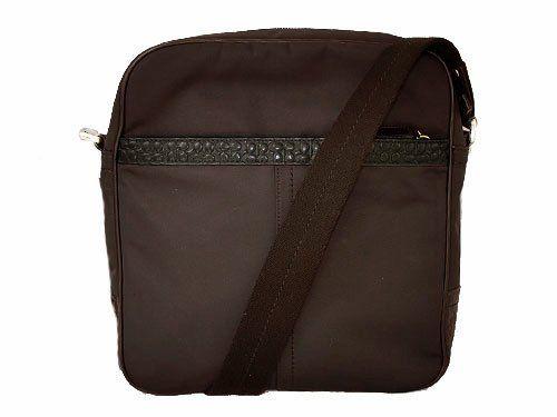 Coach Gramercy Brown Nylon Embossed Leather Flight Crossbody Bag 70163 Mahogany