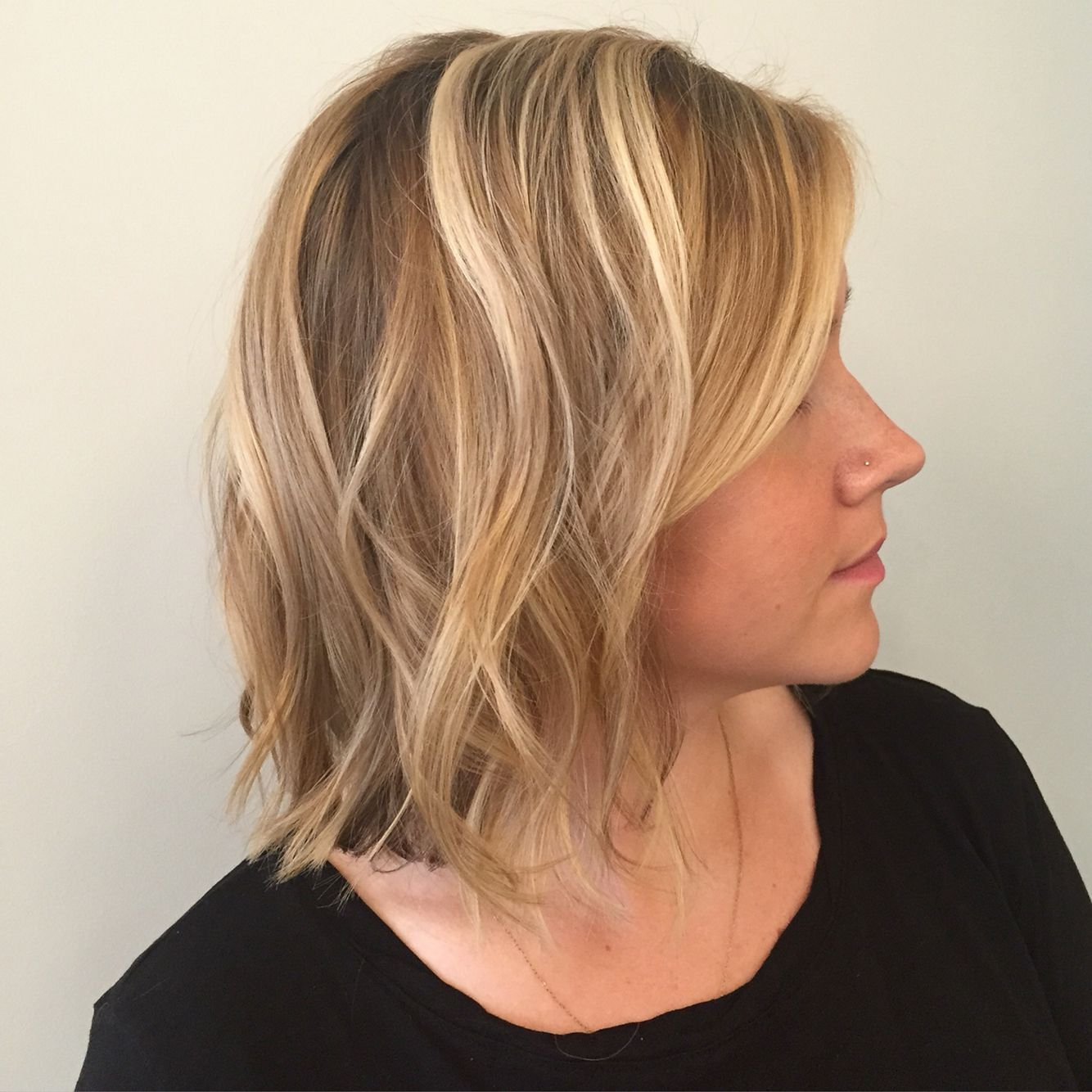 Wavy Bob With Balayage Highlights Blonde Hair Done By Holly At Blueprint Modern Hair In Portland Or Ig H Modern Hairstyles Hair Styles Balayage Highlights