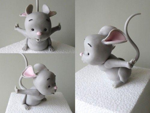 Как сделать мышку, мышонка из мастики для торта?