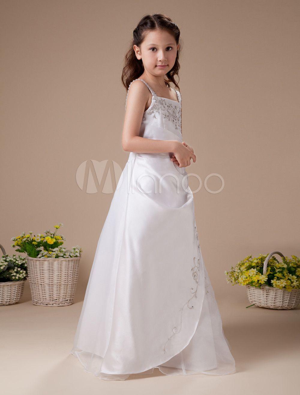 96fe5ab604b White Sleeveless Embroidery Satin Flower Girl Dress  Embroidery ...
