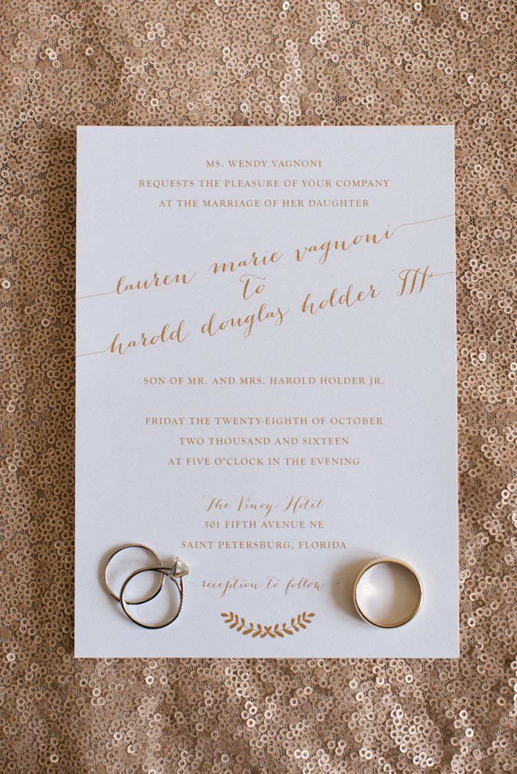 simple elegant gold and white wedding invitation by that pretty