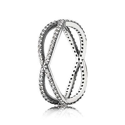 PANDORA entwined silver ring with clear cubic zirconia