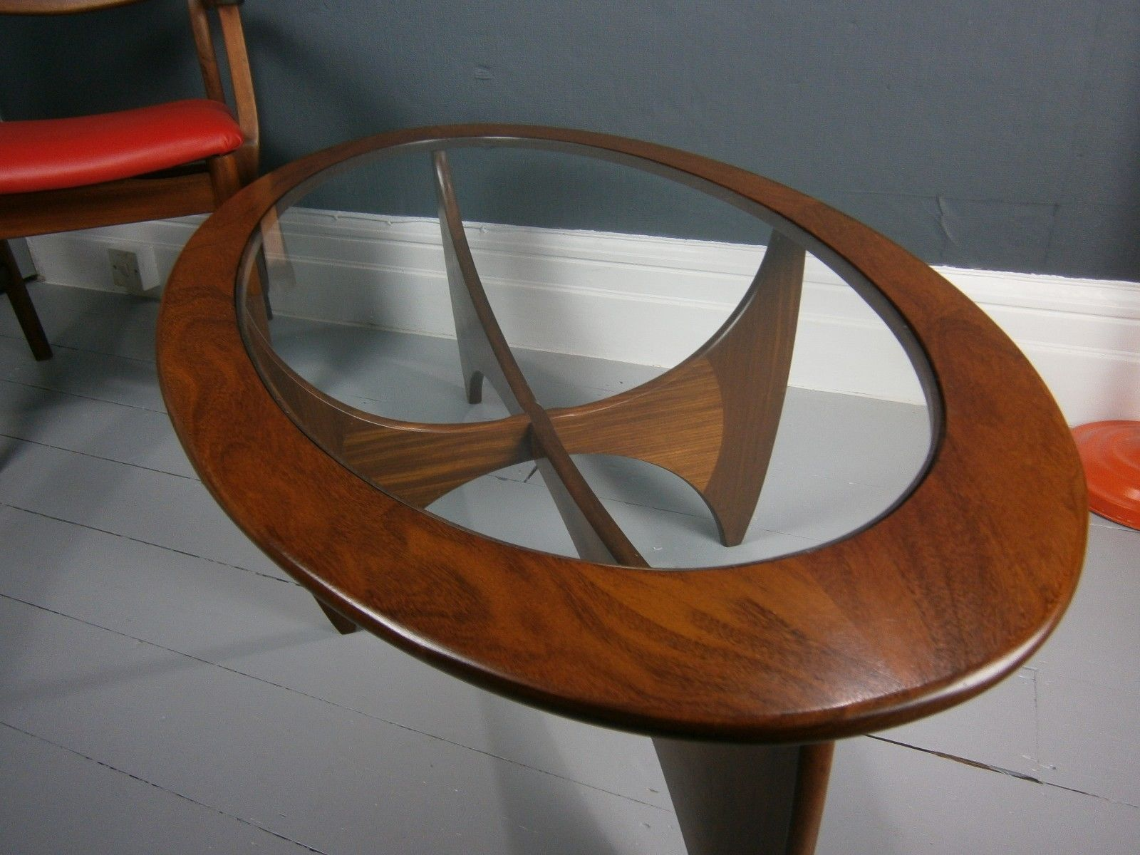 Details about vintage retro mid century g plan astro oval teak details about vintage retro mid century g plan astro oval teak coffee table danish style glass geotapseo Gallery