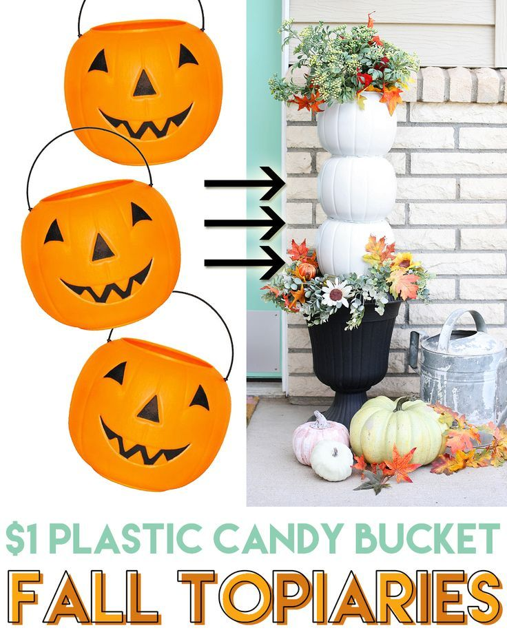 Plastic Pumpkin Candy Bucket Topiaries #dollartreecrafts