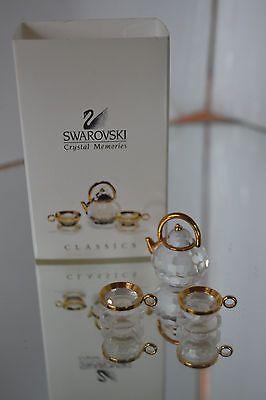 Swarovski Crystal figurine Tea Set Pot Cup Saucer 9460 000 037 Retired Gold