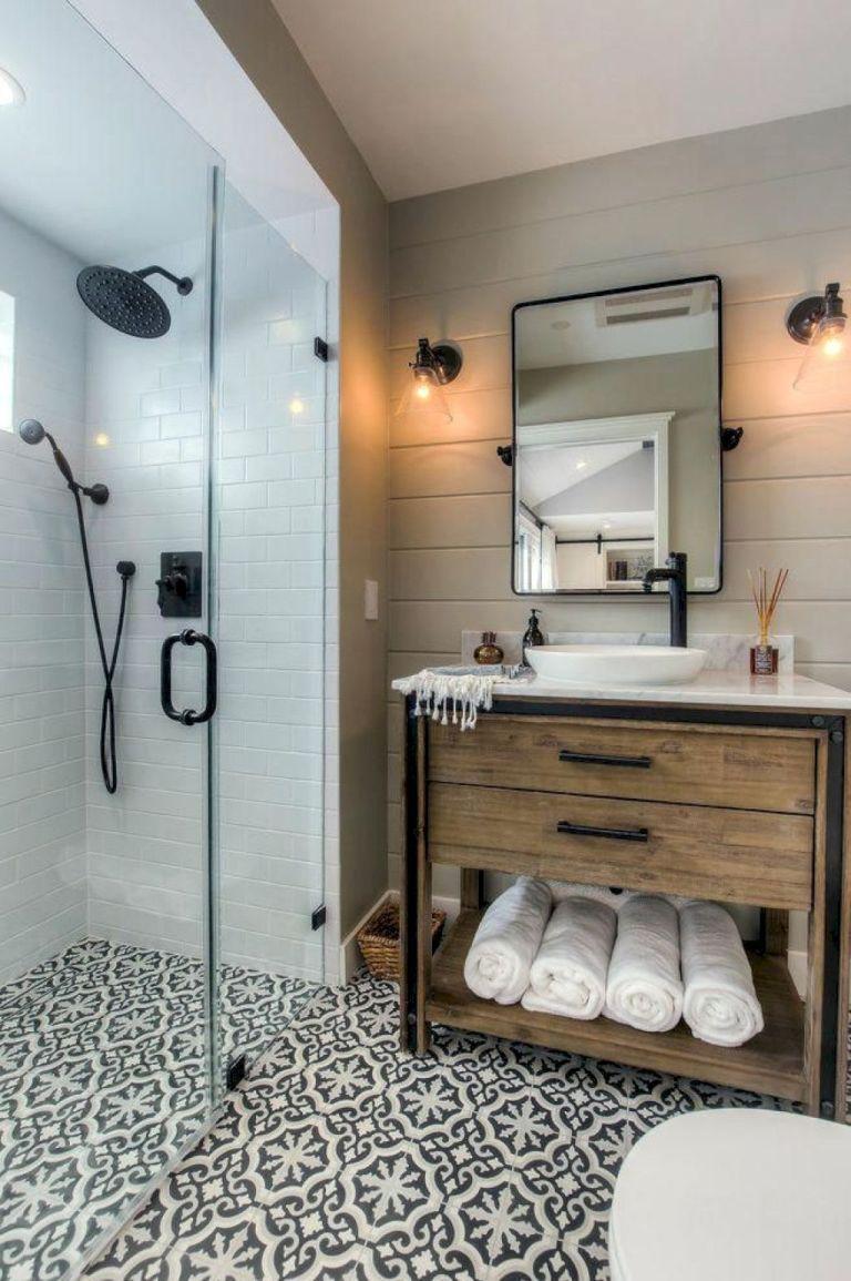 58 Stunning Farmhouse Bathroom Tiles Ideas Small Bathroom Decor Bathroom Remodel Designs Bathroom Interior