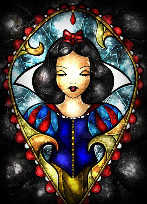 Blanche neige vitrail image disney stained glass snow - Peinture princesse disney ...