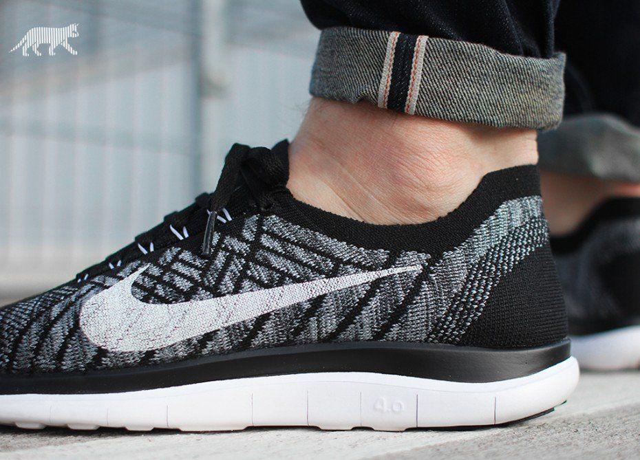 size 40 8fa9f 3c8a8 Nike Free 4.0 Flyknit (Black   White - Wolf Grey - Dark Grey)