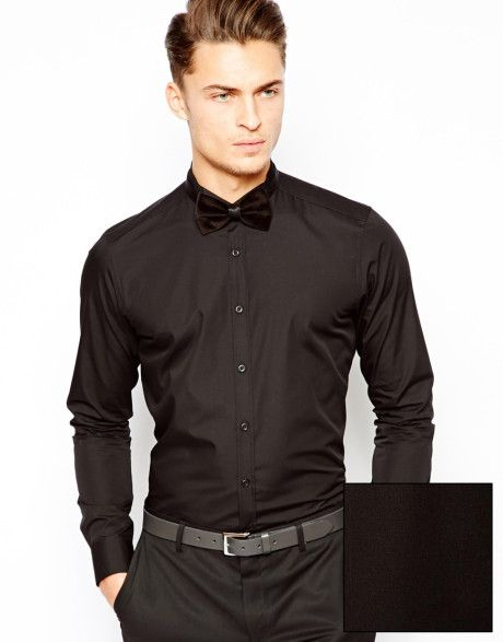 Men's Black Smart Tux Shirt with Wing Collar and Long Sleeves ...