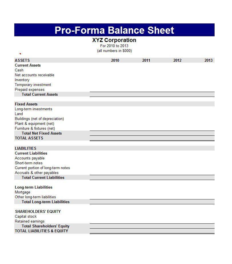 15 Balance Sheet Templates Balance Sheet Template Balance