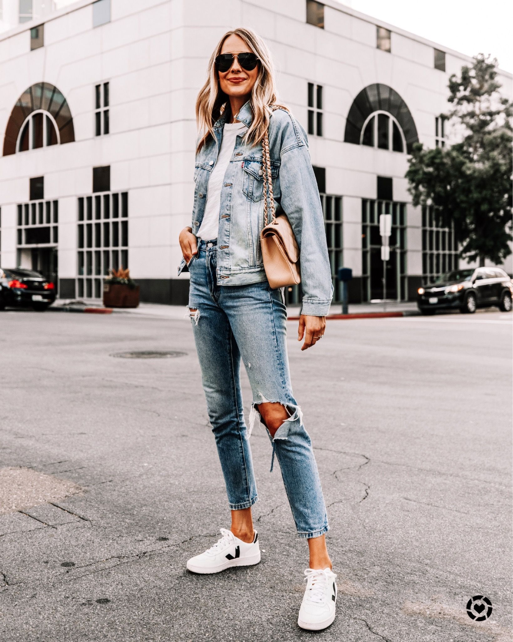 Jean Jacket Outfit Jeans And Jean Jacket Jeans And Denim Jacket Ripped Jeans And Jean Jacket Fashion Jackson Jeans And Sneakers Outfit Ripped Jeans Outfit [ 2048 x 1639 Pixel ]