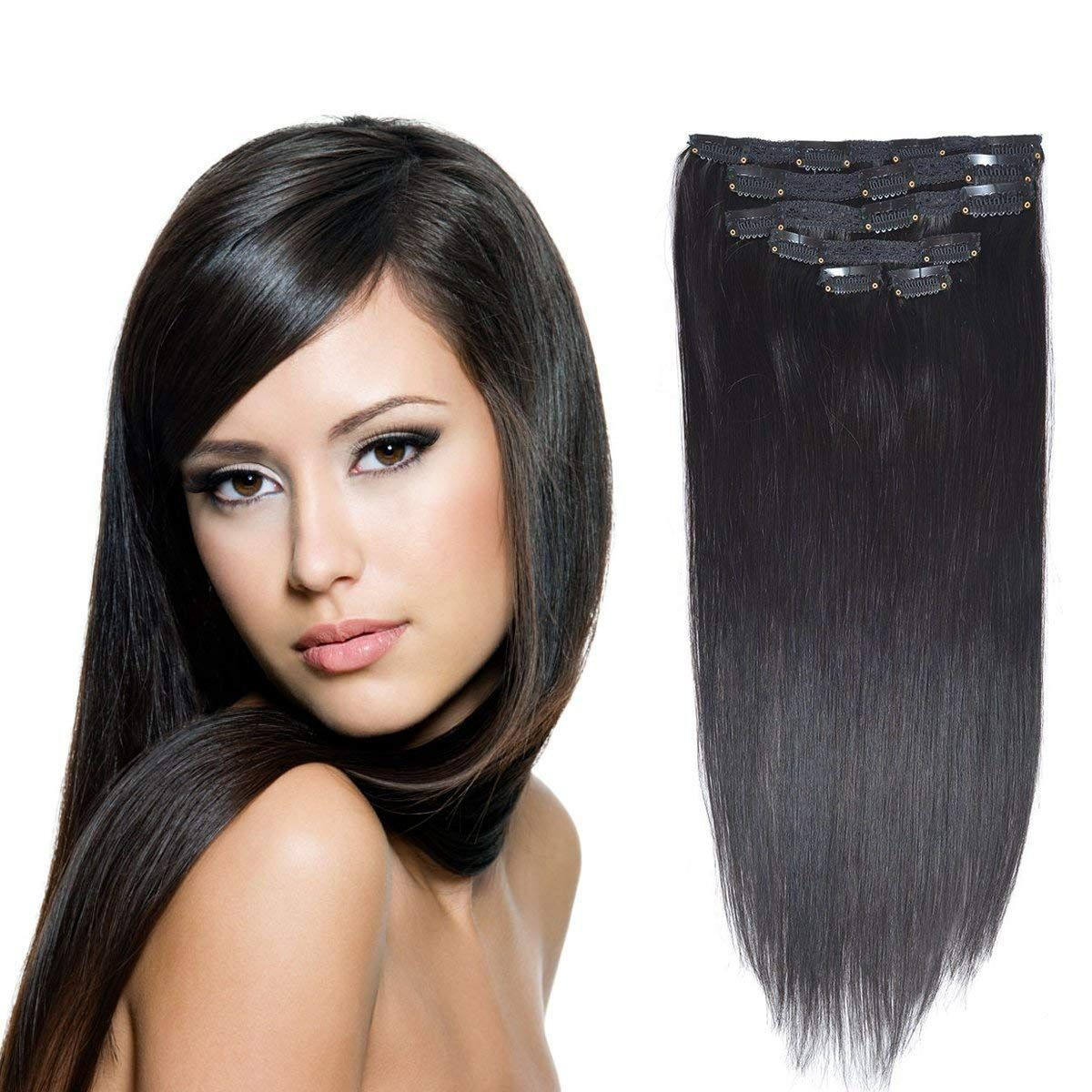 """Amazon 16"""" Clip in Hair Extensions Real Human Hair Off"""