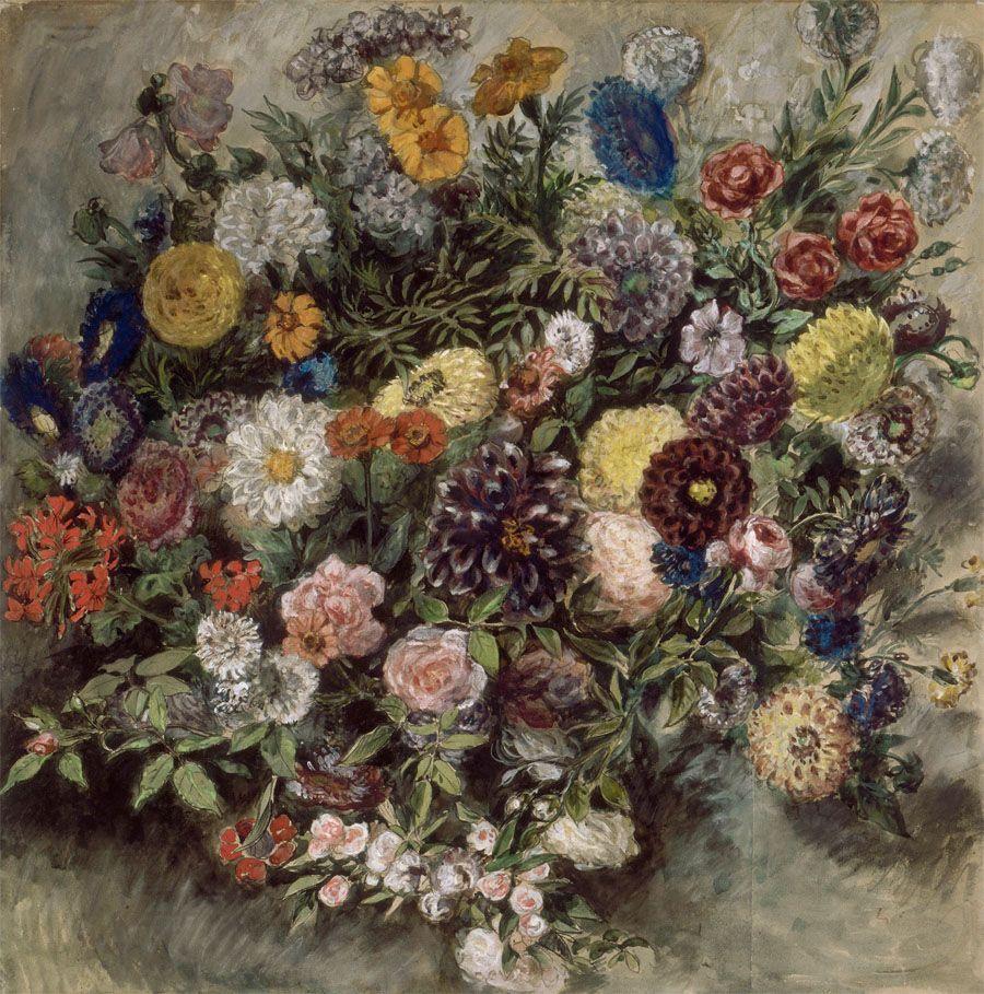 Eugene Delacroix Bouquet De Fleurs Aquarelle Gouache Et