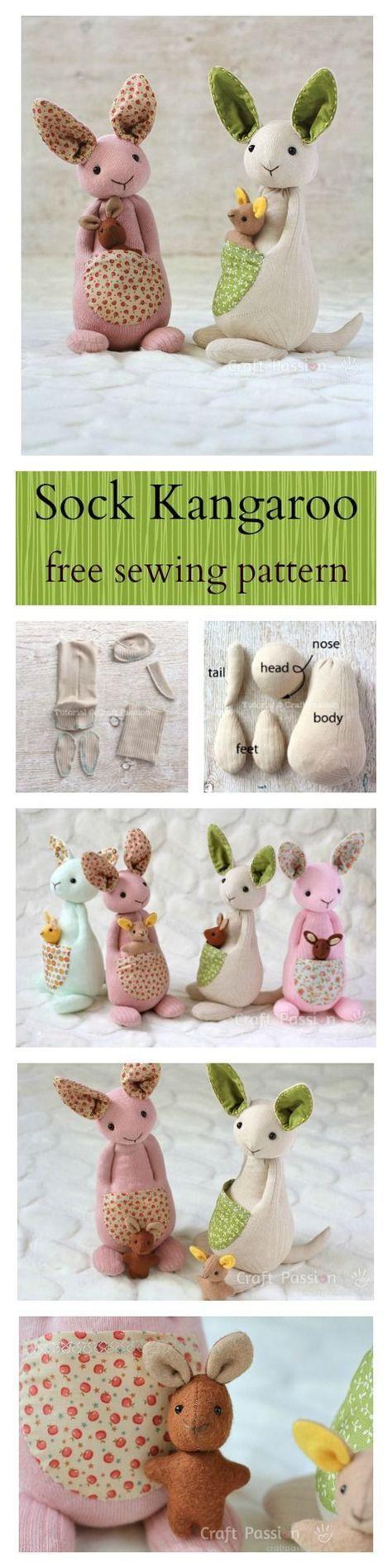 Sock Kangaroo Plushie - Free Sewing Pattern & Tutorial | Nähen ...
