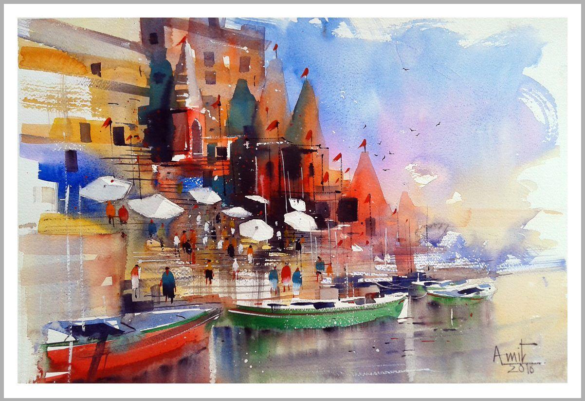 "Amit Kapoor  Banaras Ghat... 22""X15"""