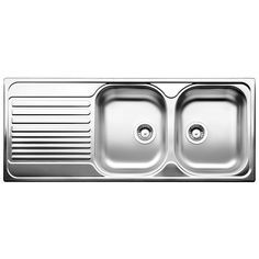 Kitchen Double Sink Bunnings Blanco 80cm Tipo Right Hand Double Bowl Stainless Steel Inset With Draine Drainboard Sink Double Basin Sink Drop In Kitchen Sink