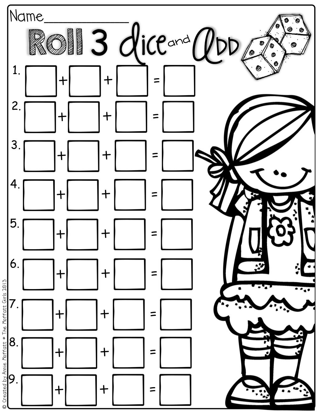 Dice Multiplication Worksheet