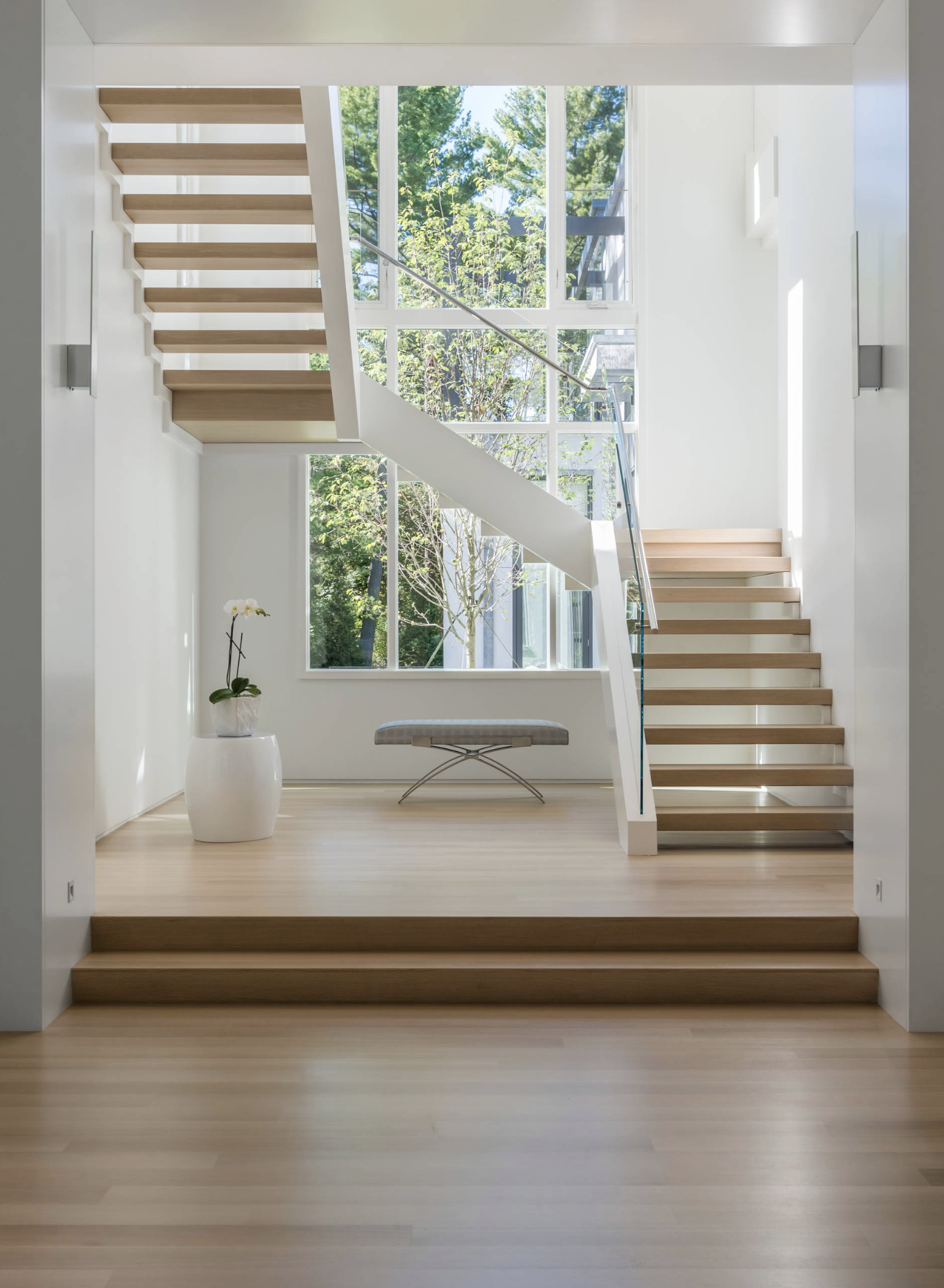 Beautiful White Modern Staircase In Weston Ma Custom Built By The Lagasse Group Home Stairs Design Stairs Design Interior Stairs Design Modern