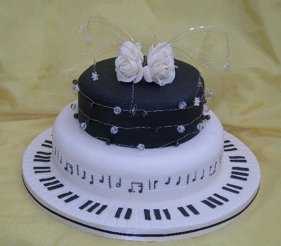 60th cake for a musician with happy birthday music round the side