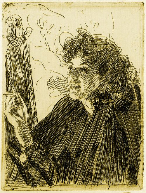 Anders Zorn  Love the type when in the face all lines are in the same direction. Also: face welldefined. However, line direction is less consistent in the periphery. I feel like you may even add a touch lf gouache.