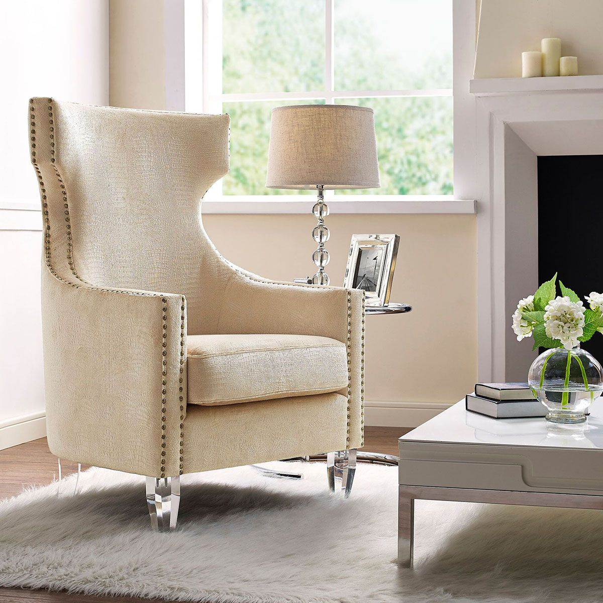 Wing Chairs For Living Room Gramercy Wing Chair In Gold Croc By Tov Accent Chairs By Tov