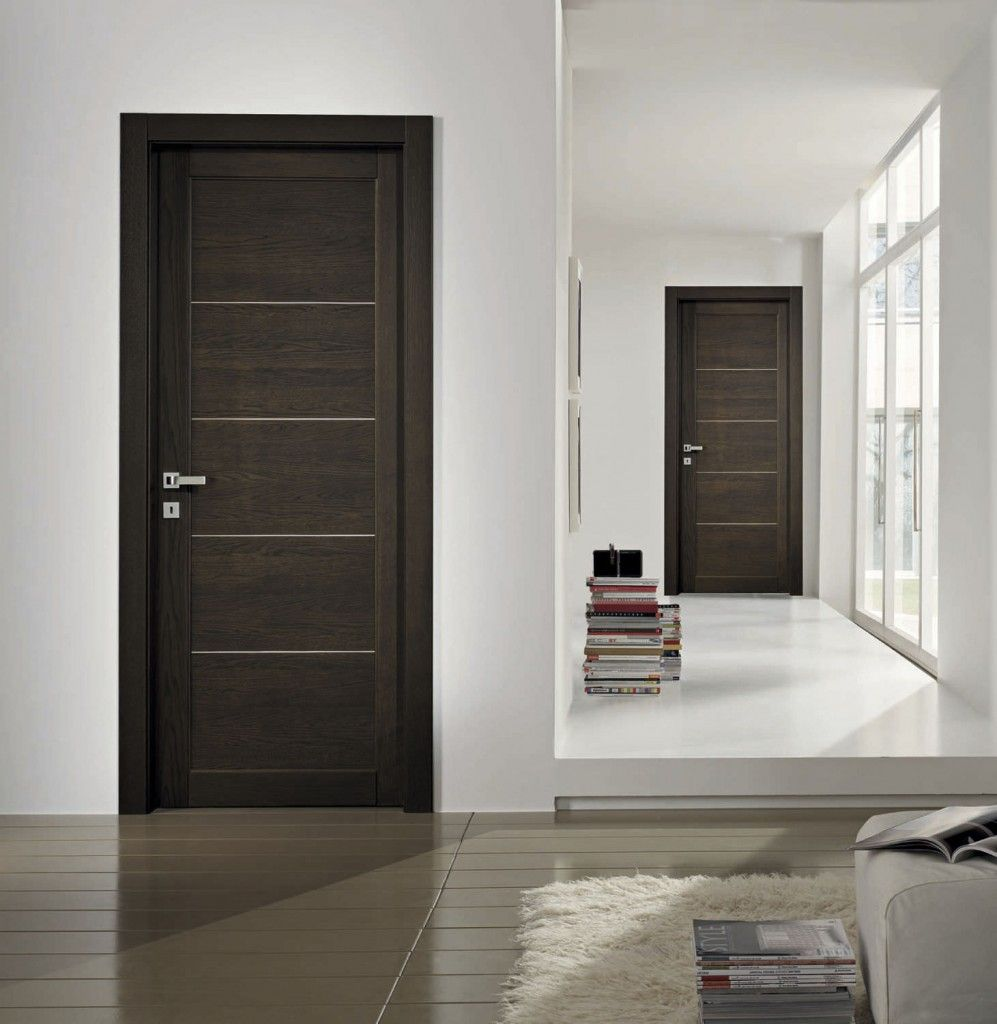 Bedroom Door: Minimalist Wood Interior Doors For Modern Bedroom Decor