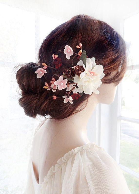 bridal hair clip flower wedding hair accessories burgundy wedding hair clip ivory hair comb rustic wedding hair floral bridal headpiece