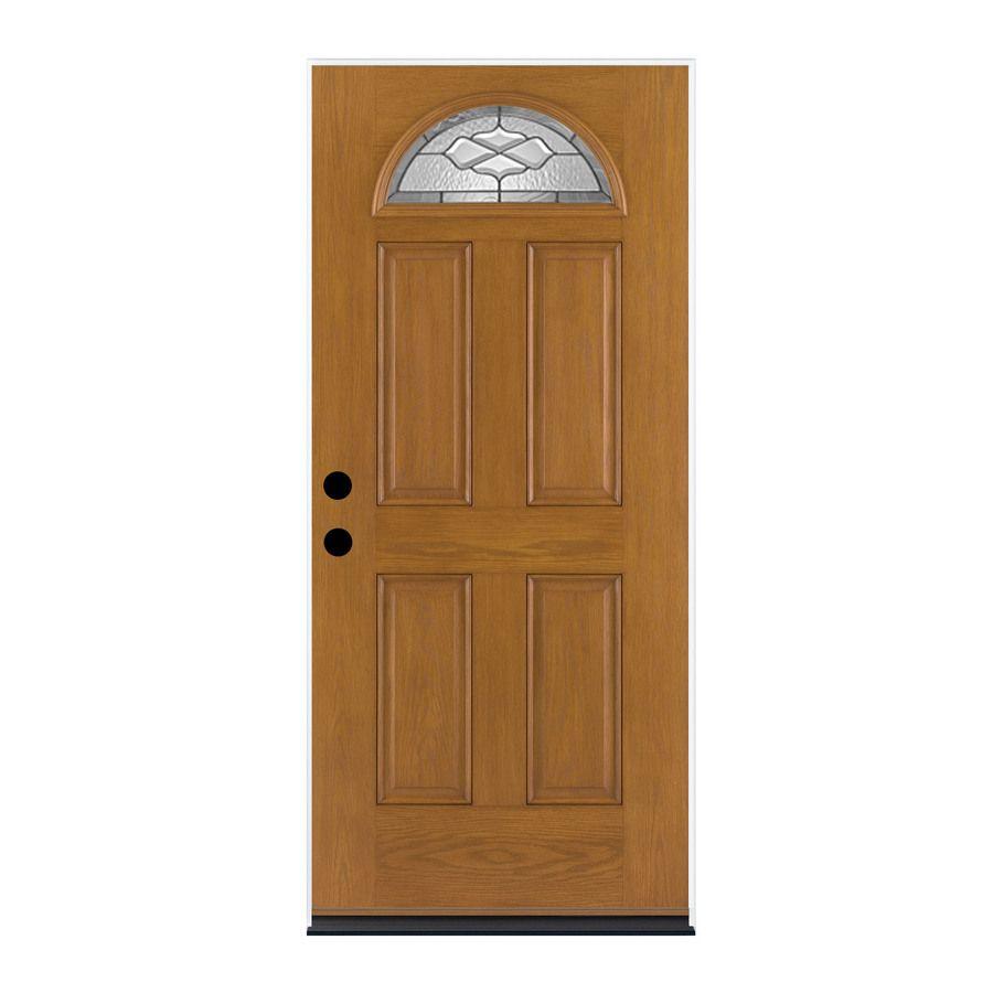 Therma Tru Benchmark Doors Willowbrook 1 4 Lite Decorative Glass Left Hand Inswing Medium Oak Stained Fiberglass Prehung Entry Door With Insulating Core Common Entry Doors Outswing Exterior Door Beveled Glass Doors