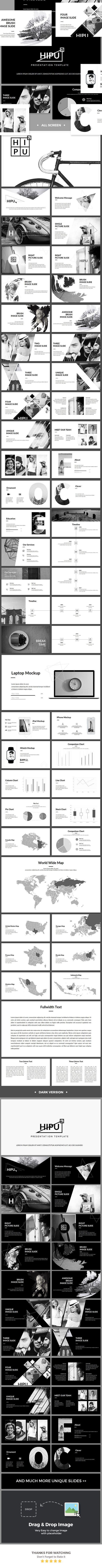 hipu - black white presentation template | powerpoint themes, Presentation templates