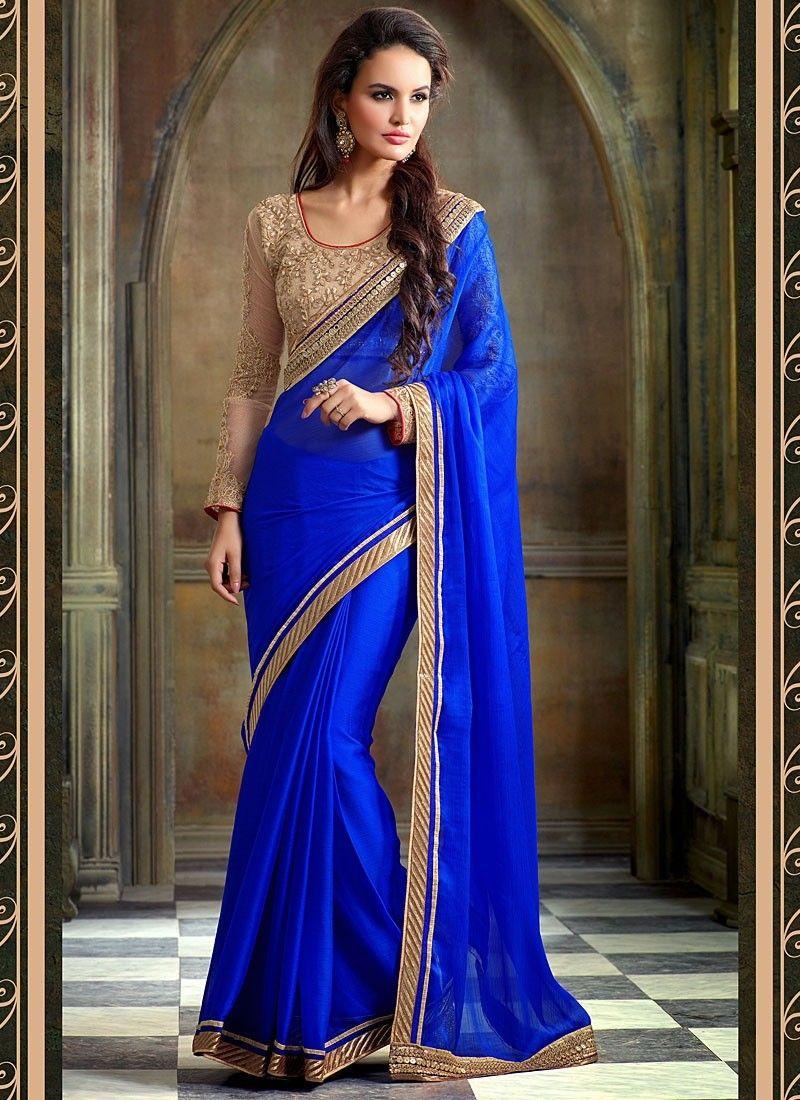 Sari indien Perfervid Bleu en mousseline de soie