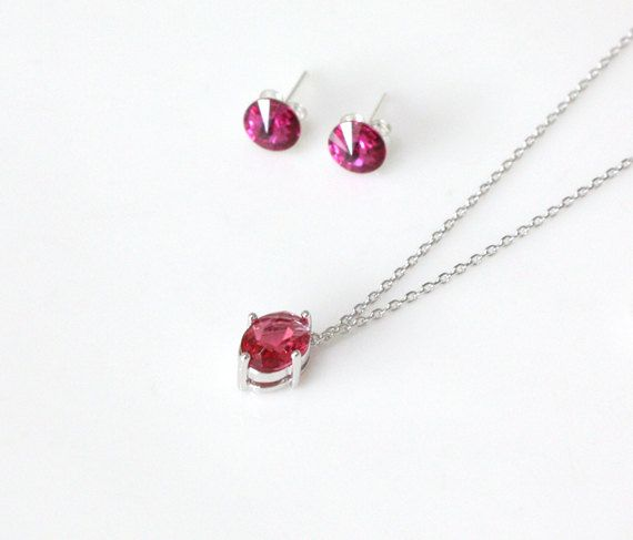 Bridesmaid gift set  Ruby pendant necklace and by ElliesButton, $24.00
