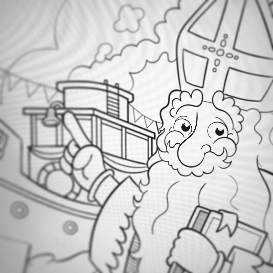 Zie Ginds Komt De Stoomboot Sinterklaas Kleurplaat Instaart Instaartist Drawing Sketch Lineart Colouringbook Vault Boy Character Fictional Characters