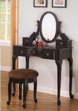 Amazon Com Black Vanity Table Set Jewelry Armoire Makeup Desk Bench