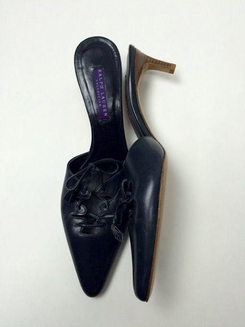 New Ralph Lauren 8.5 Navy Mules Slides Kitten Heels Pumps Lace up Tie #RalphLauren #Mules