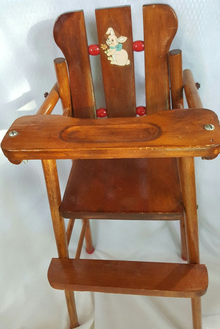 Vintage Wood Toy High Chair Childs Pretend Play Highchair ...