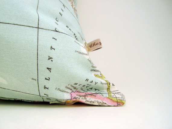 world map pillow cover - as seen in Marie Claire - decorative pillows - travellers gift - blue pillow - decorative map pillow