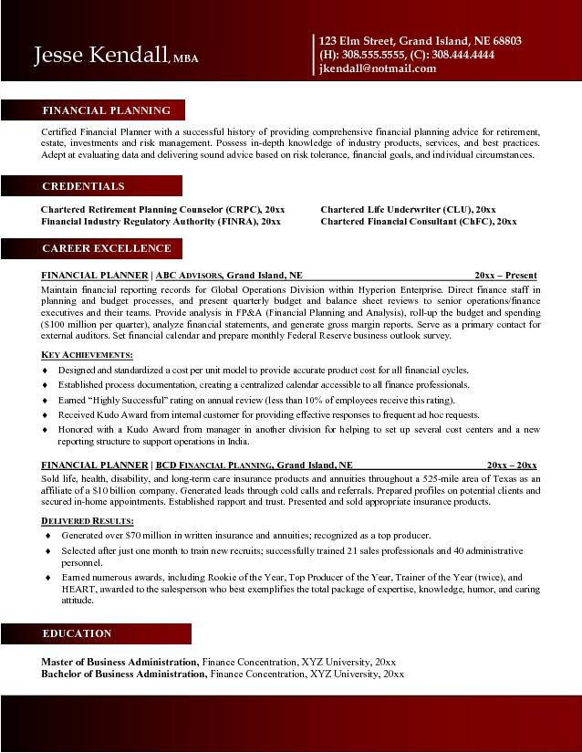 mba finance resume sample