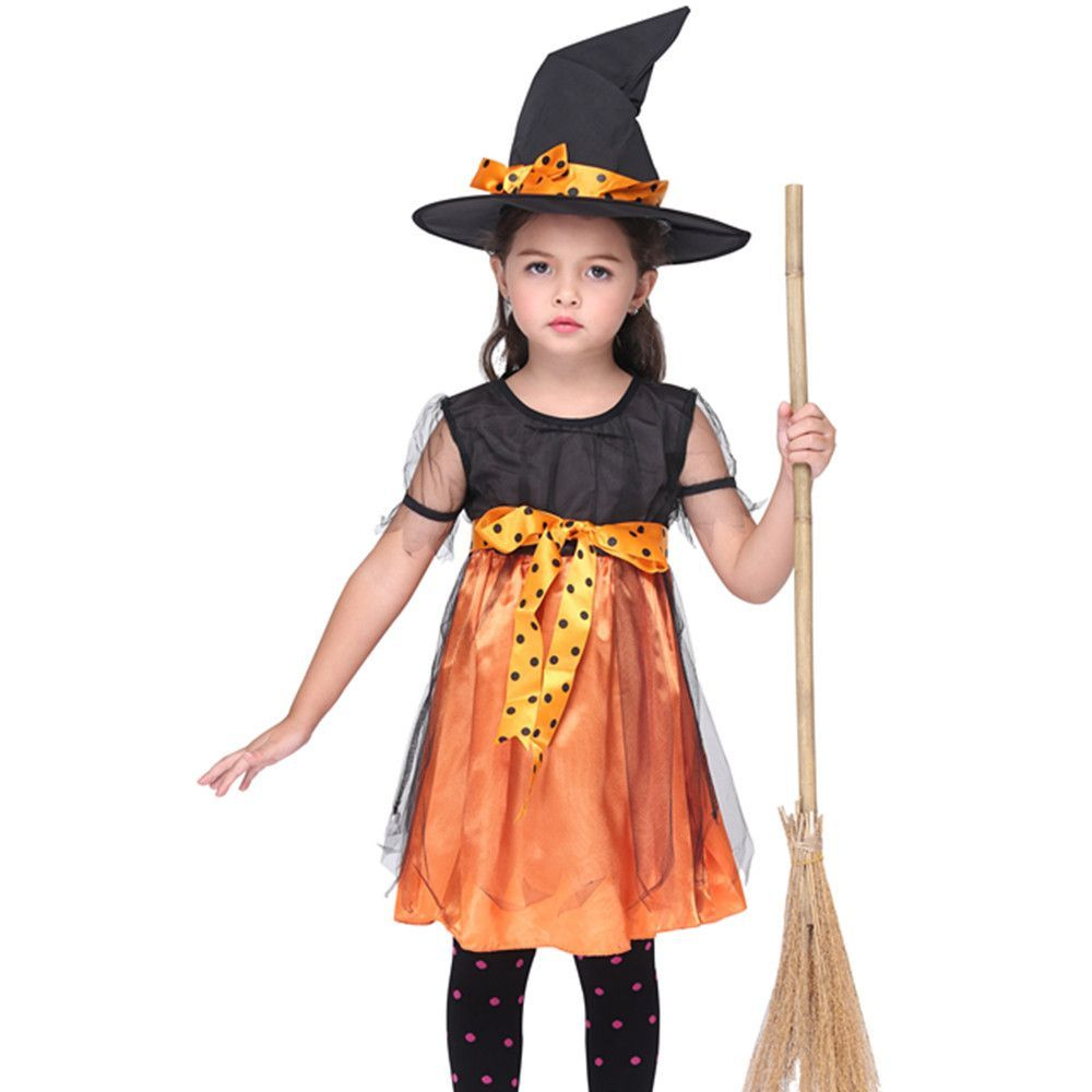 Fairytale Children Girlsu0027 Witch Costumes Kids Pumpkin Witch Fancy Dress Halloween Costume Cosplay Clothing Z01  sc 1 st  Pinterest : pumpkin girl costume  - Germanpascual.Com