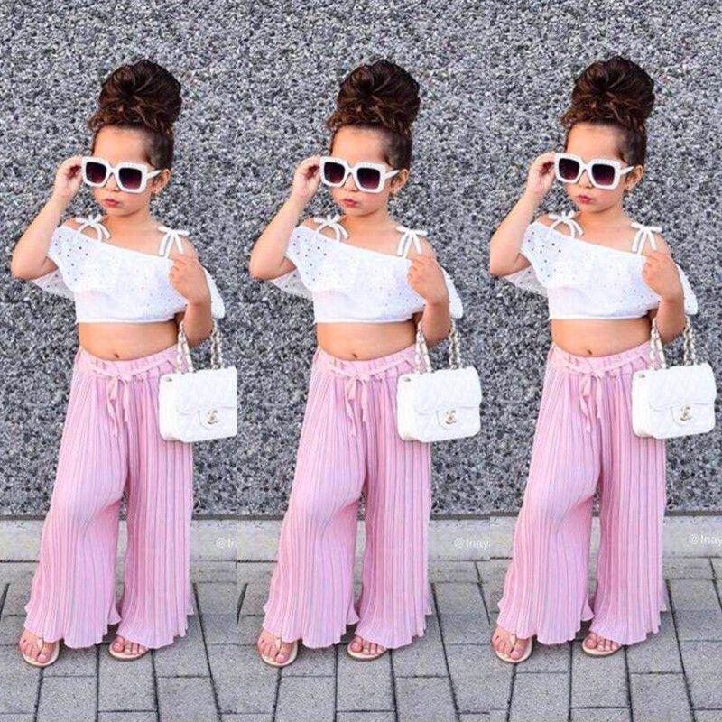e7647ebef5122 Toddler Kids Girls Lace Stripe Off Shoulder Crop Top Pants Set ...