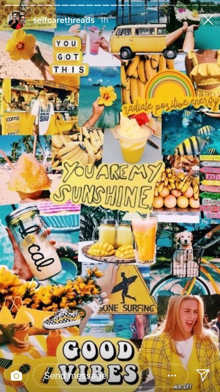Yellow Neon Aesthetic Background Collage