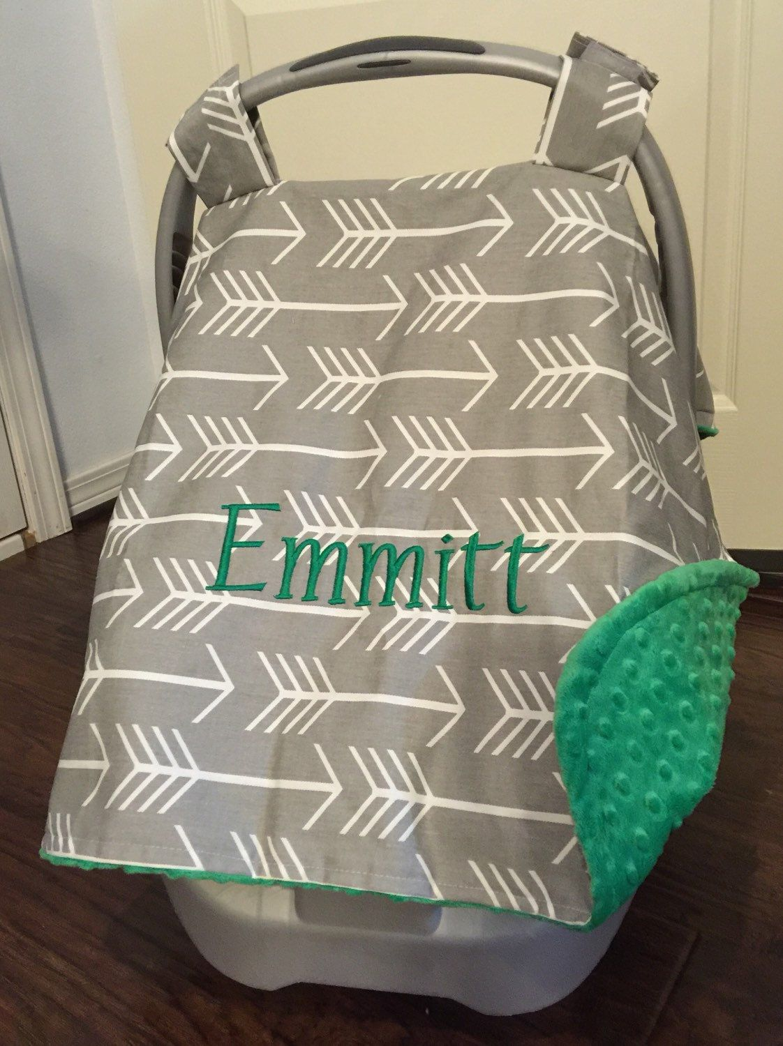 Carseat canopy monogram arrow infant carrier with name gray car seat minky grey arrow personalized gift & Monogrammed Carseat Canopy for boys or girls with Arrows ...