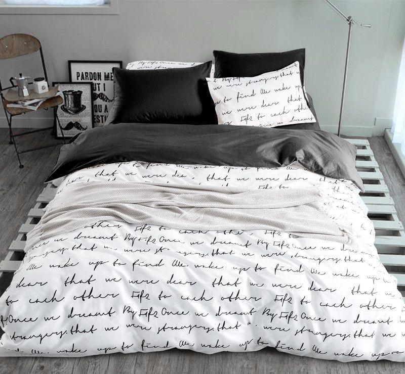 Letter Printing Duvet Cover Sets Activity Bedding Sets Super King 13 Size Quilt Cover Set Bedroom Bedding Home Duvet Bedding Sets Bedding Sets Duvet Cover Sets