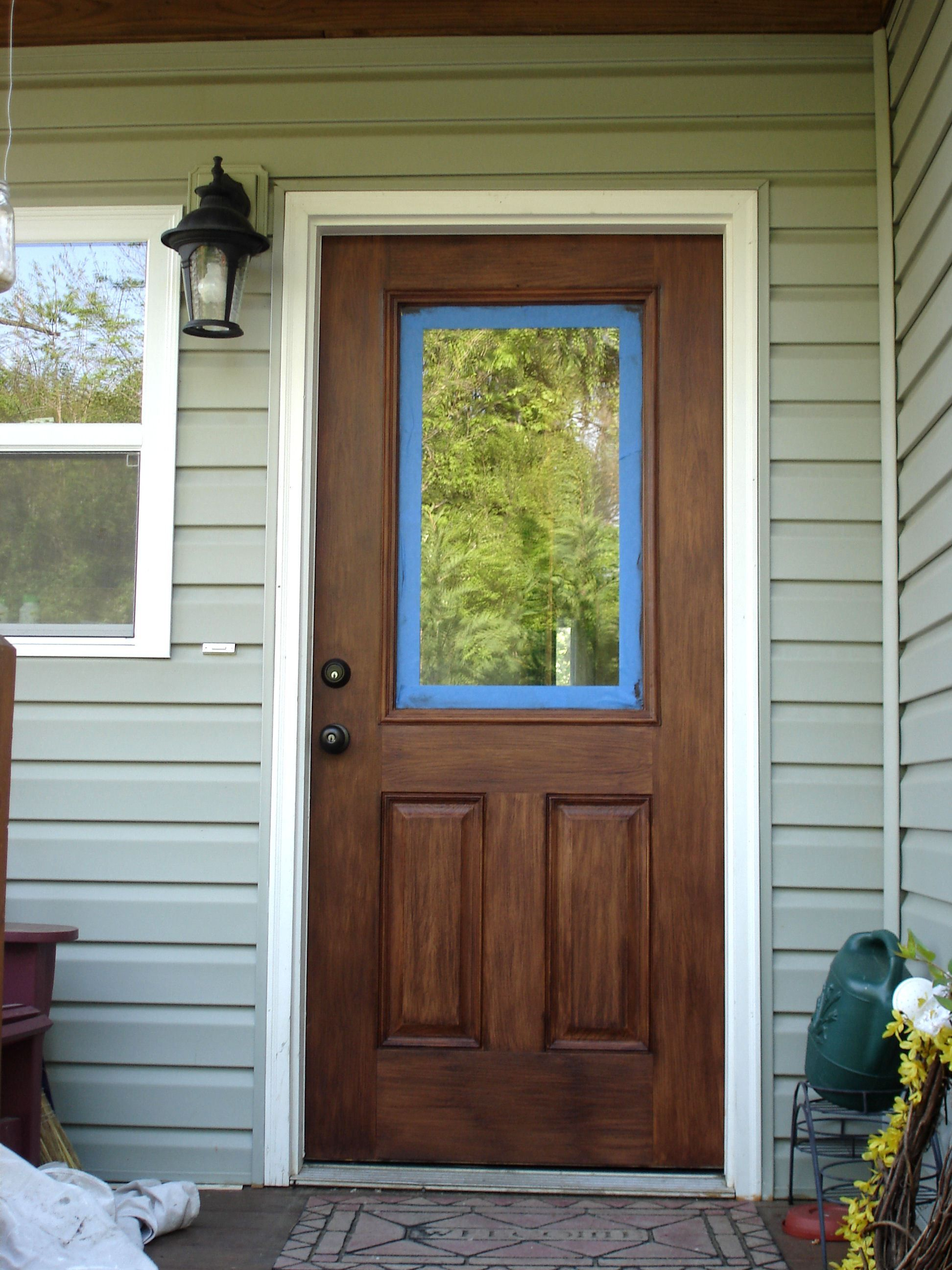 Gel Stained Fiberglass Door I Used Old Masters Gel Stain Over My Painted Door Painted Front Doors Exterior Front Doors Front Door Colors