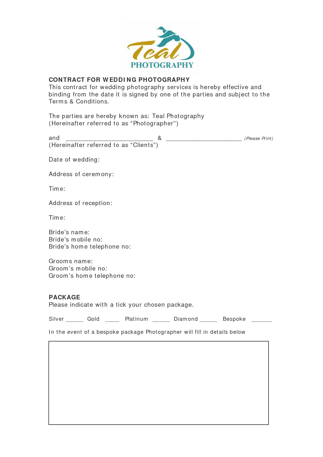 Basic Wedding Photography Contracts  Contract For Wedding