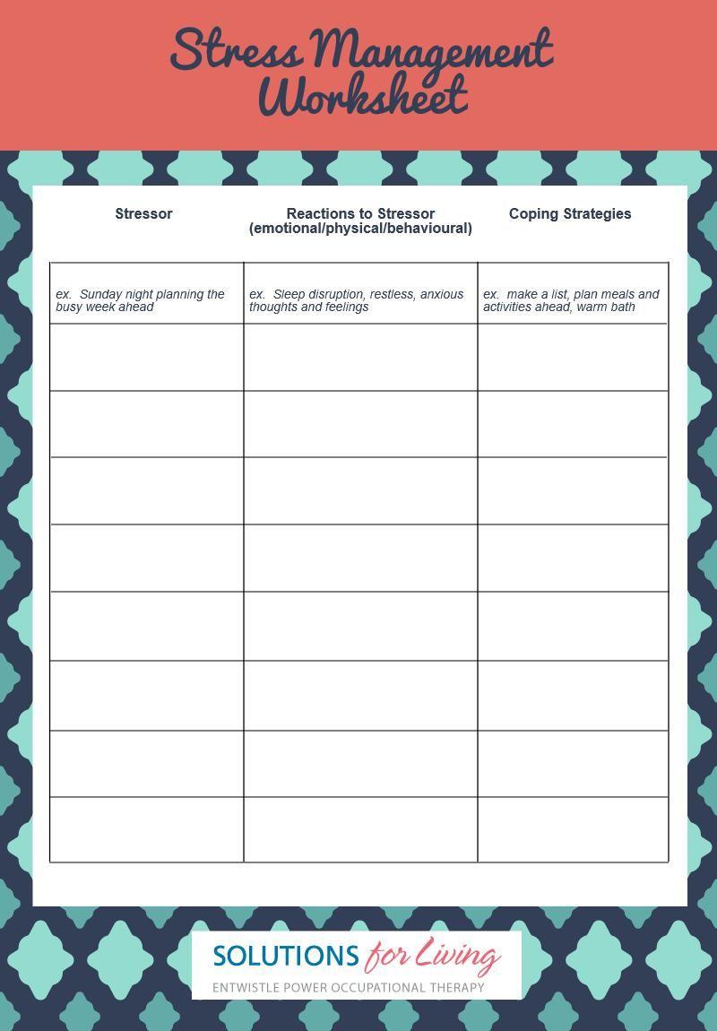 Stress Management Worksheet Counseling Pinterest Stress