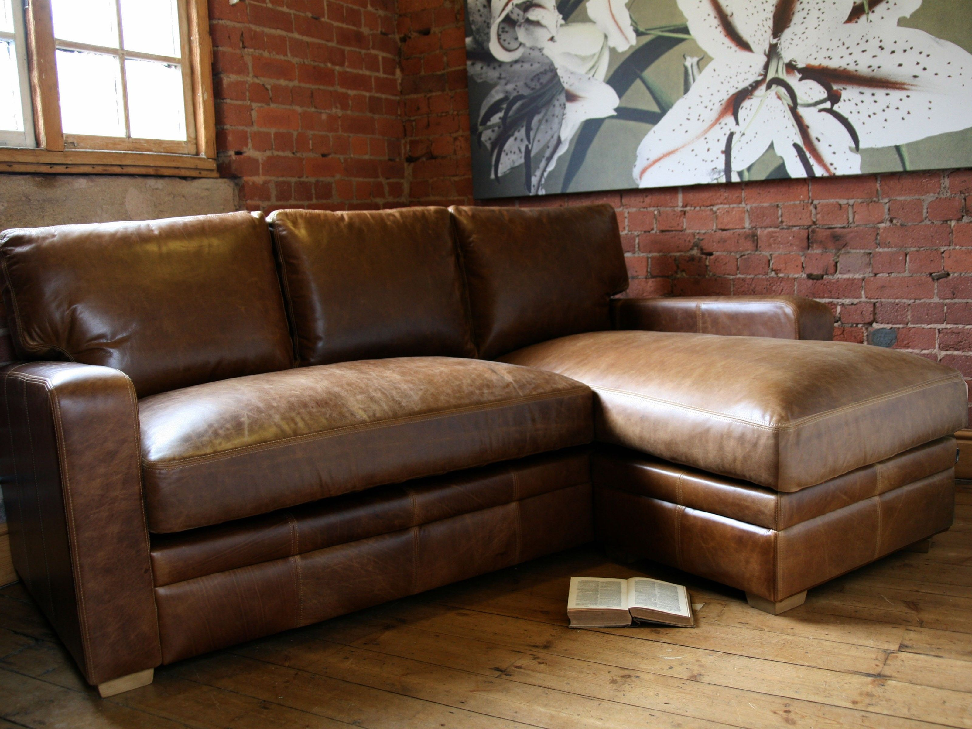 Living Room Furniture Corner L Shaped Light Brown Leather Sectional