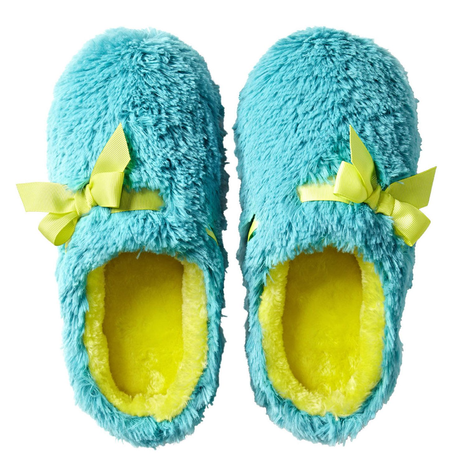 e0d024e4c6240 trend  neon - jcp plush clog slippers with ribbon and bow