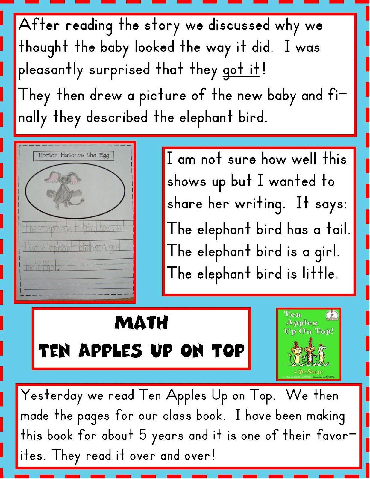 Golden Gang Kindergarten Dr Seuss unit Read book Ten